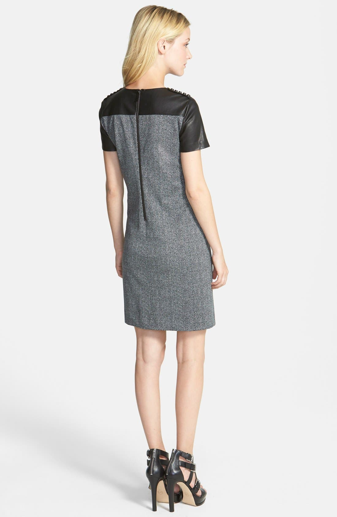 Alternate Image 2  - MICHAEL Michael Kors Print Ponte & Faux Leather Dress