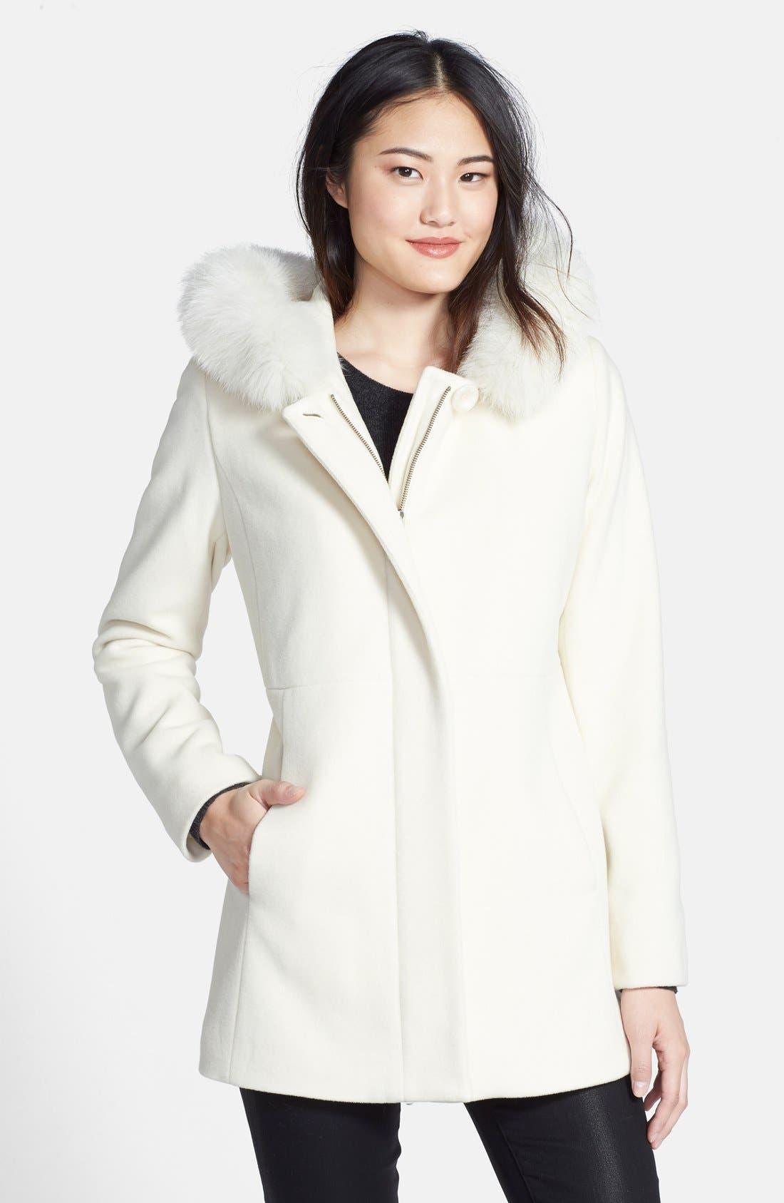 Sachi Genuine Fox Fur Trim Hooded Wool Blend Coat