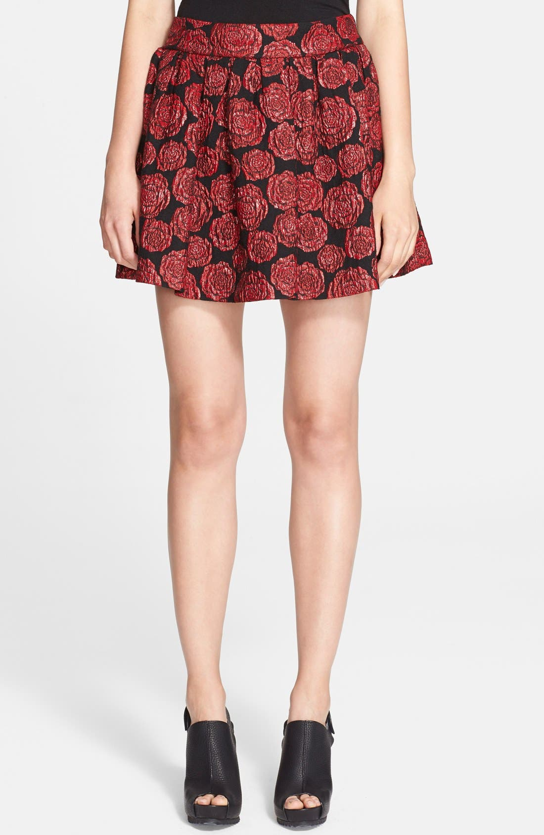 Alternate Image 1 Selected - Alice + Olivia 'Fizer' Box Pleat Rose Brocade Skirt