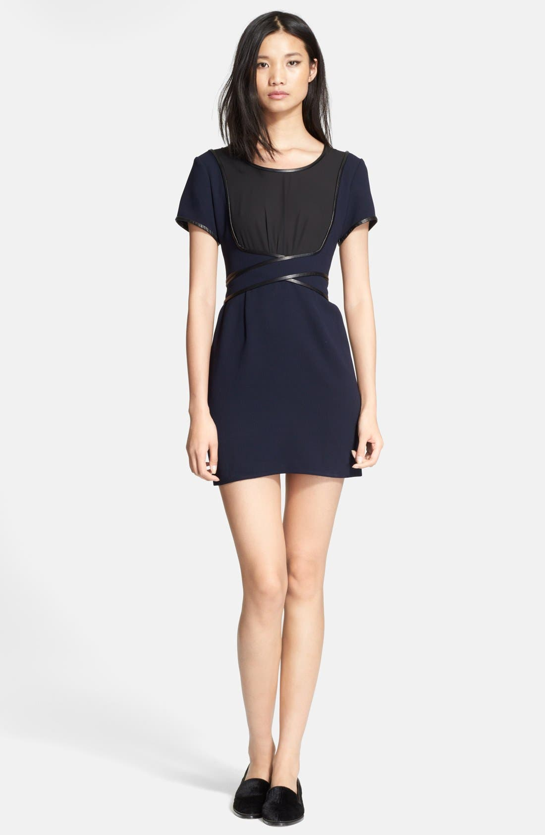 Alternate Image 1 Selected - The Kooples Leather Trim Two-Tone Crepe Dress