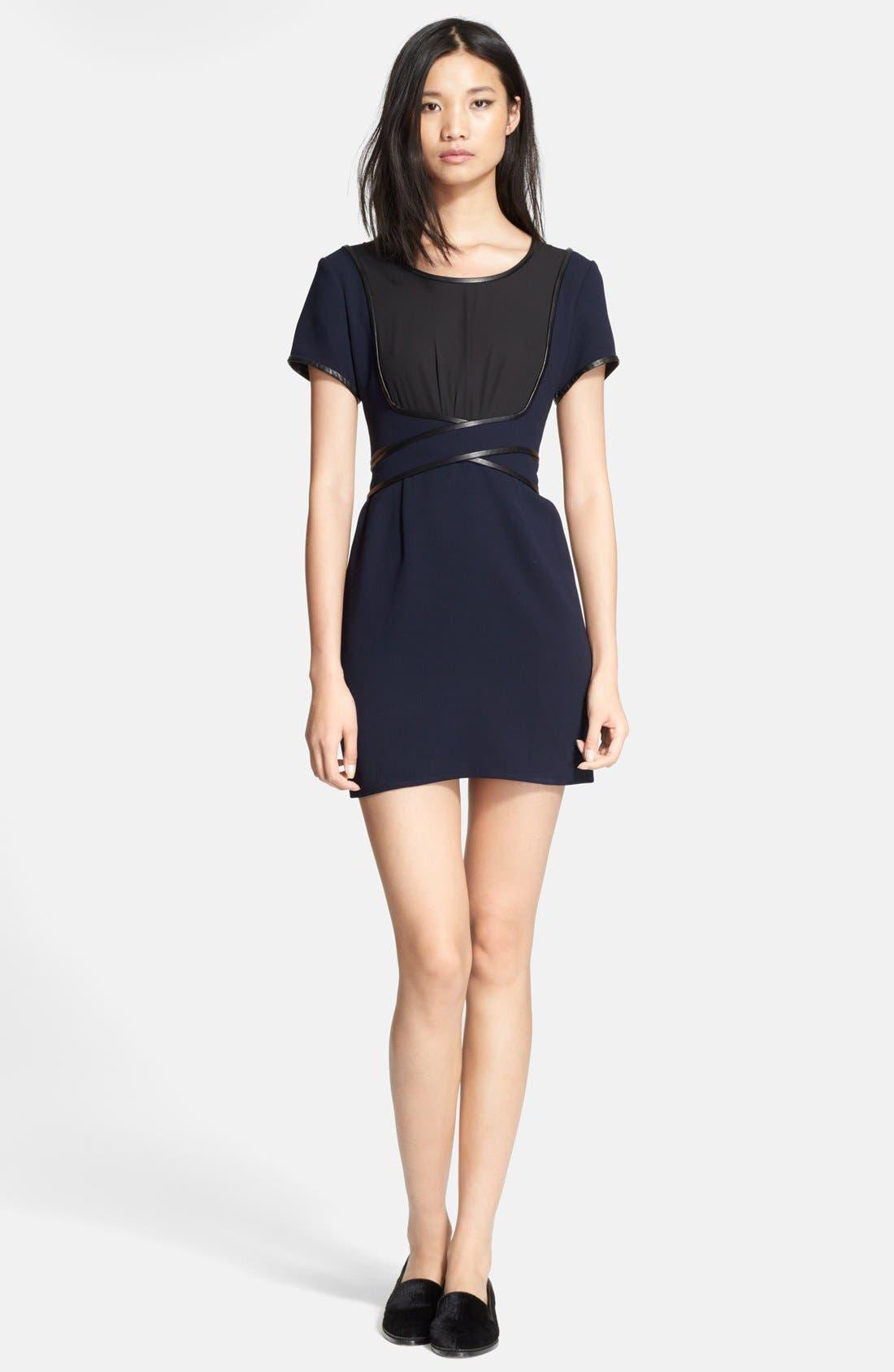 Main Image - The Kooples Leather Trim Two-Tone Crepe Dress