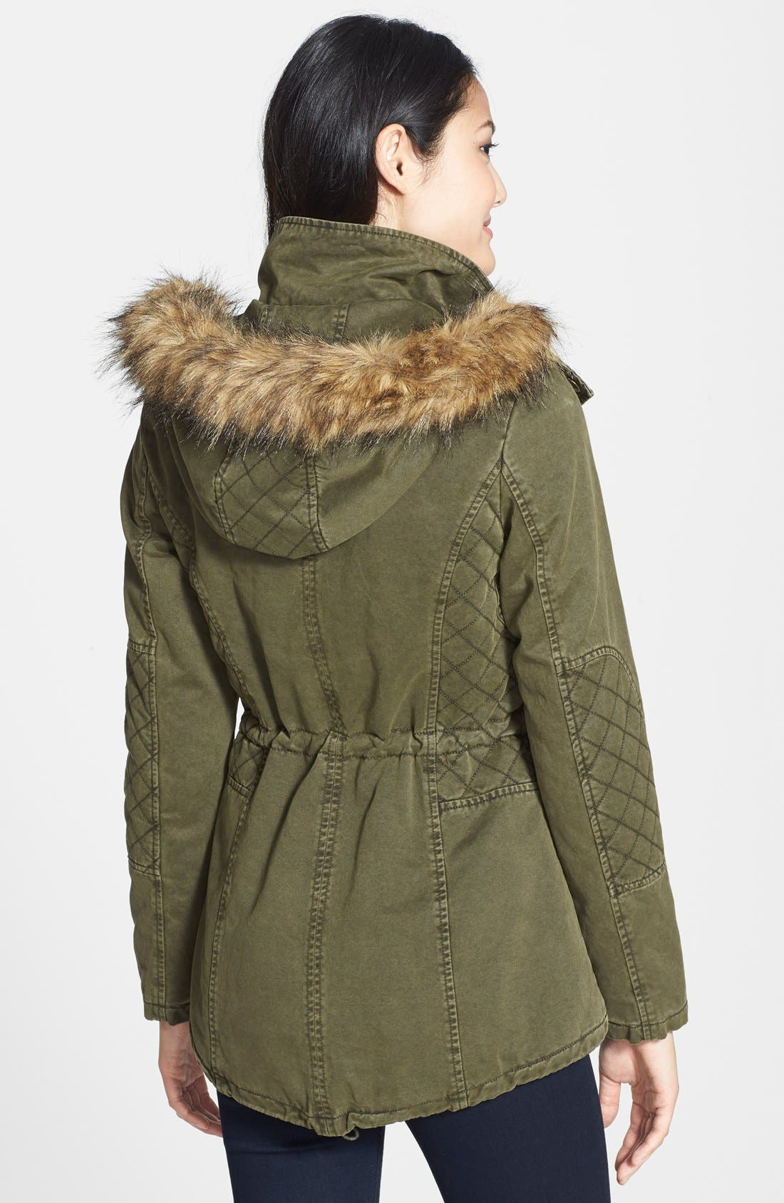 Alternate Image 2  - GUESS Faux Fur Trim Quilted Cotton Anorak (Online Only)