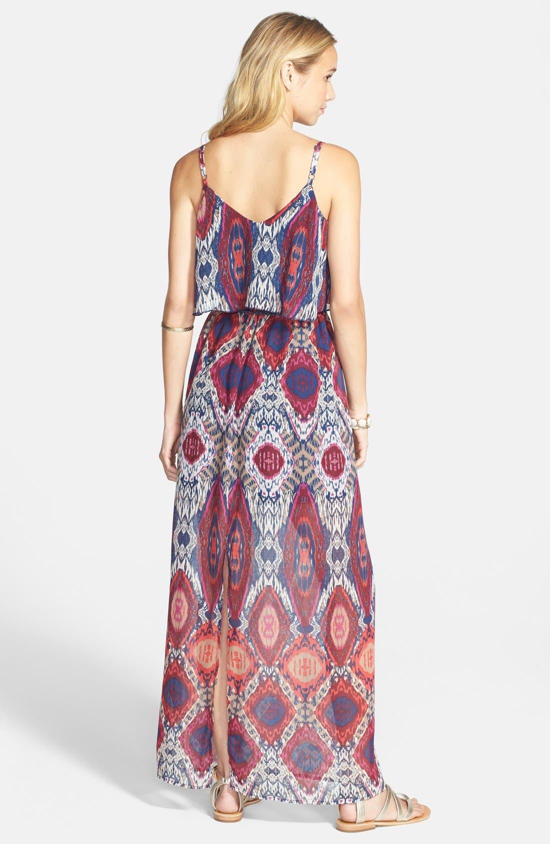 Alternate Image 2  - Secret Charm Ikat Chiffon Maxi Dress (Juniors)