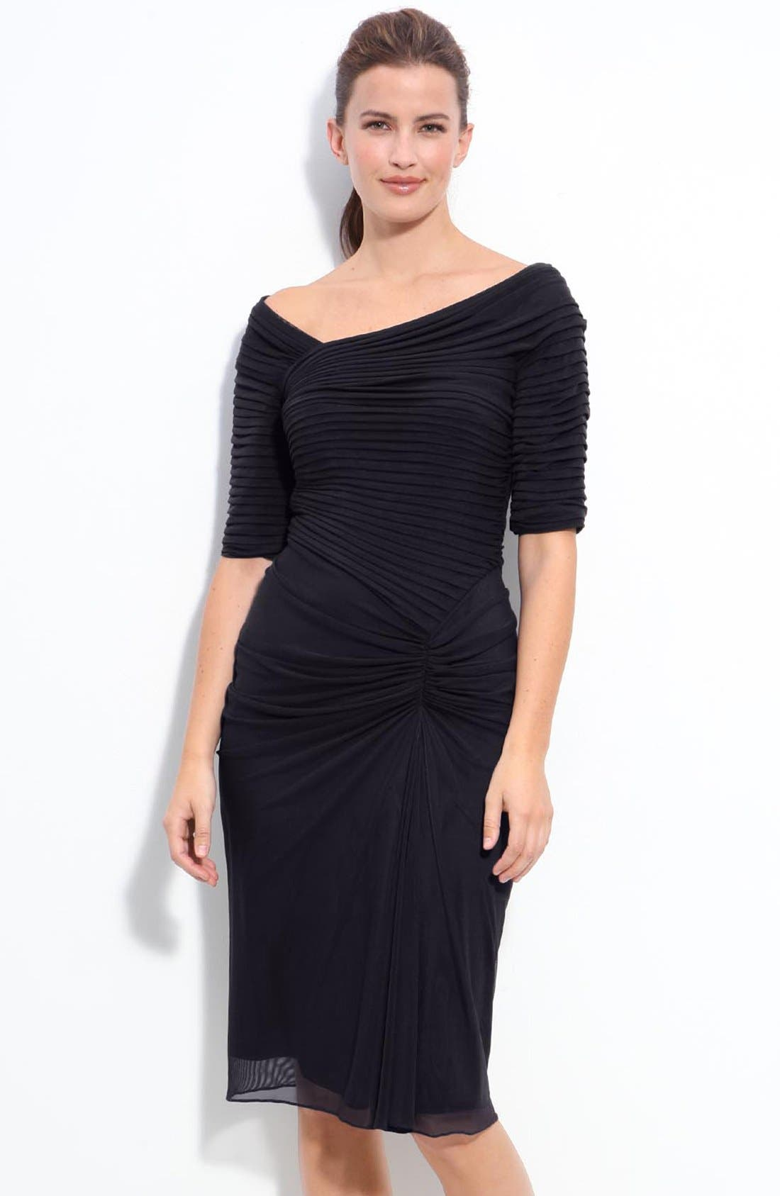 Alternate Image 1 Selected - Tadashi Shoji Asymmetrical Ruched Mesh Dress