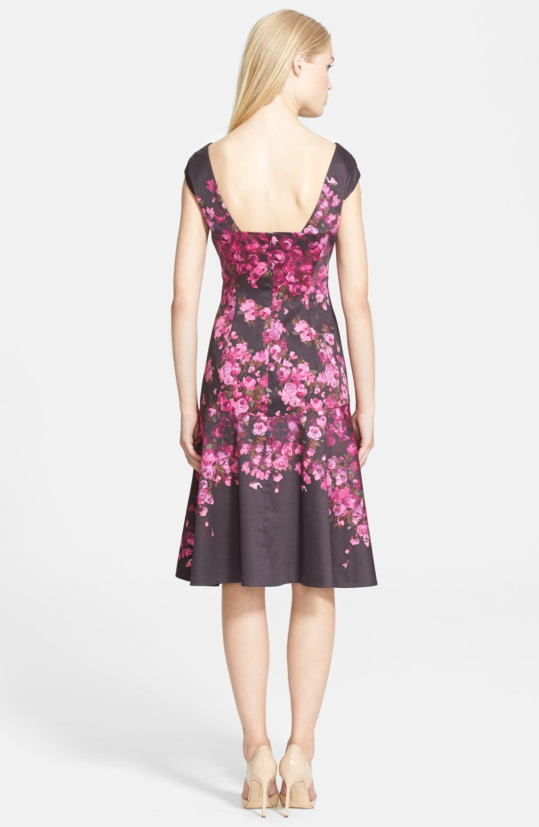 Alternate Image 2  - Lela Rose Floral Drop Waist Stretch Cotton Dress