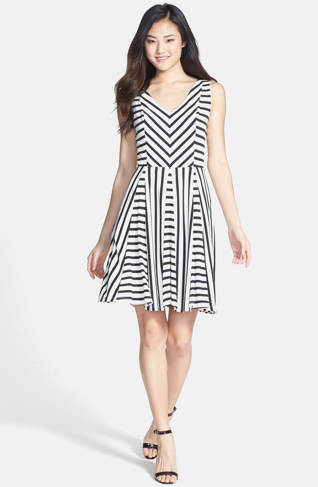 Main Image - Maggy London Stripe Jersey Fit & Flare Dress (Regular & Petite)