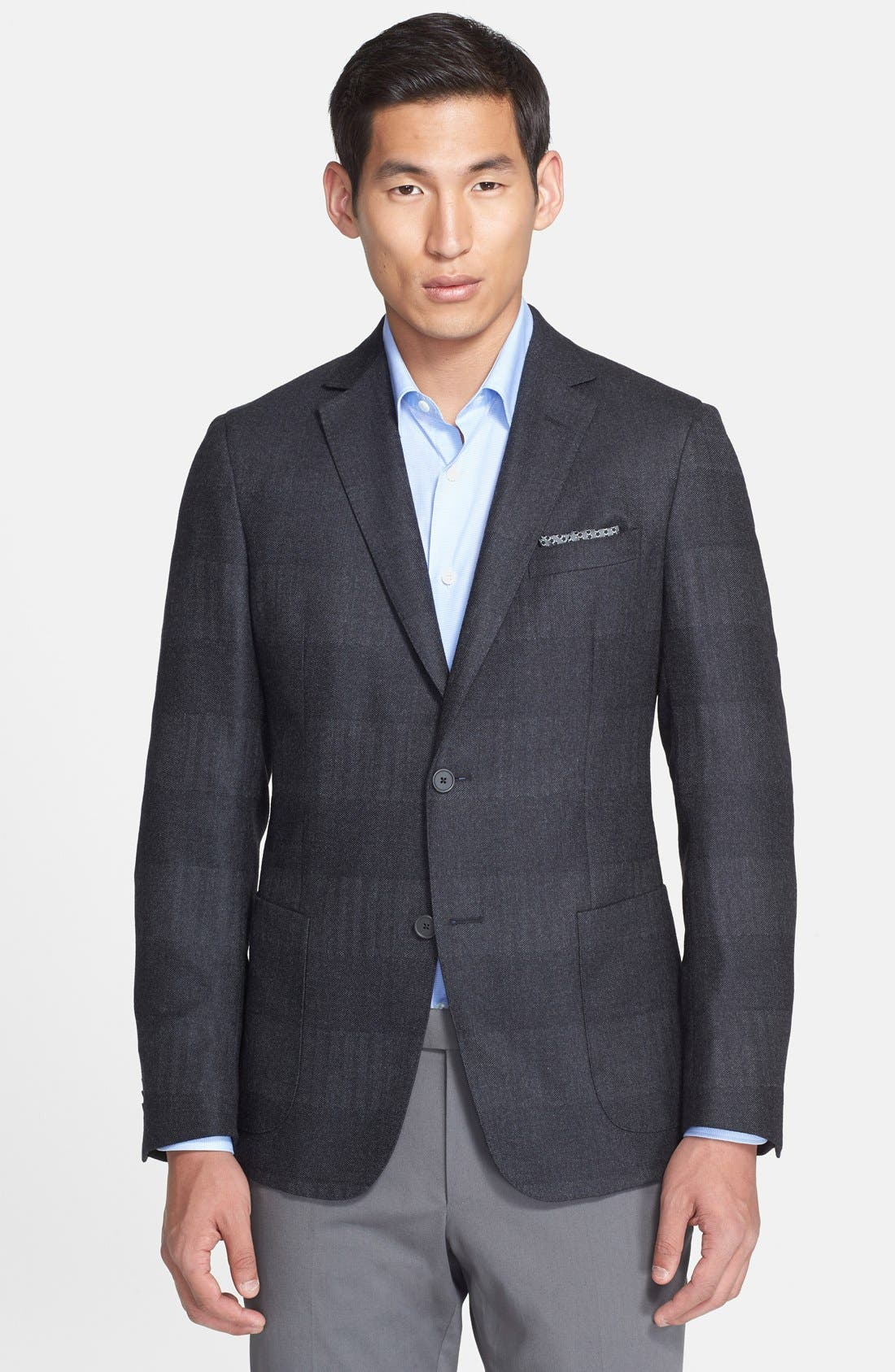 Alternate Image 1 Selected - Z Zegna Extra Trim Fit Grey Stripe Wool & Silk Sport Coat