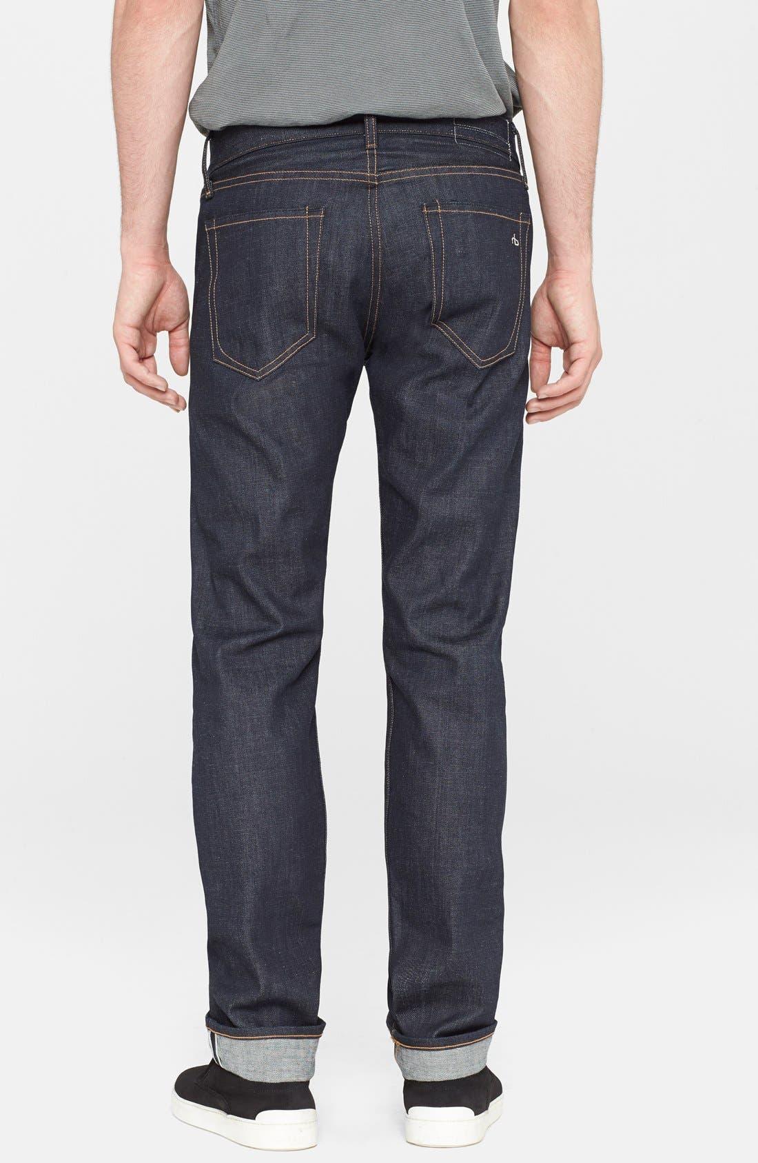 Alternate Image 2  - rag & bone Standard Issue Fit 2 Slim Fit Raw Selvedge Jeans (Indigo)