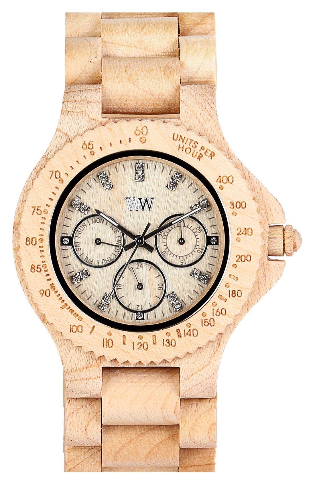 Main Image - WeWOOD 'Cygnus' Multifunction Wood Bracelet Watch, 42mm