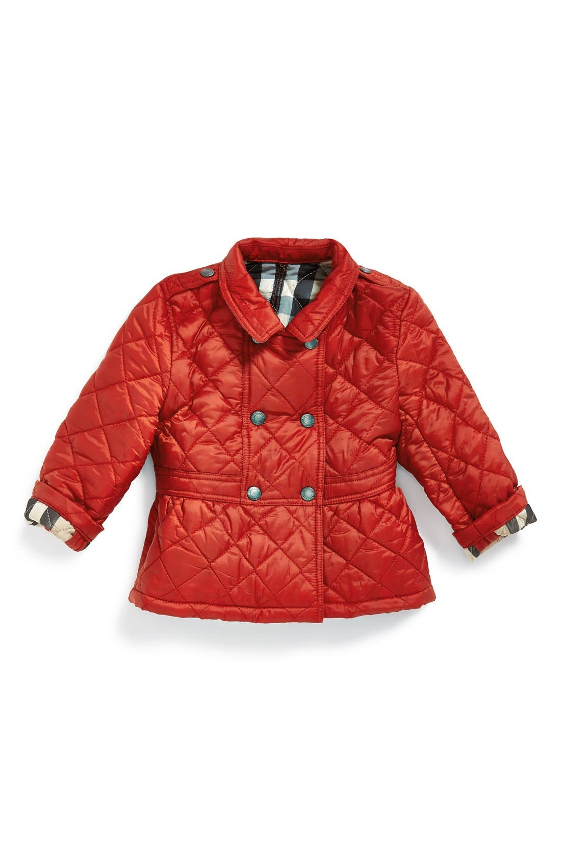 Main Image - Burberry Water Resistant Quilted Nylon Jacket (Baby Girls)