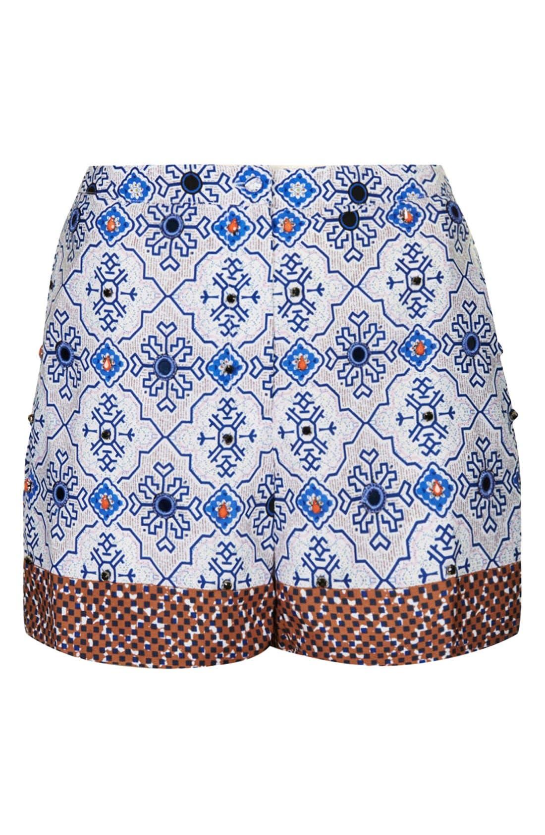 Alternate Image 3  - Topshop Beaded Tile Shorts
