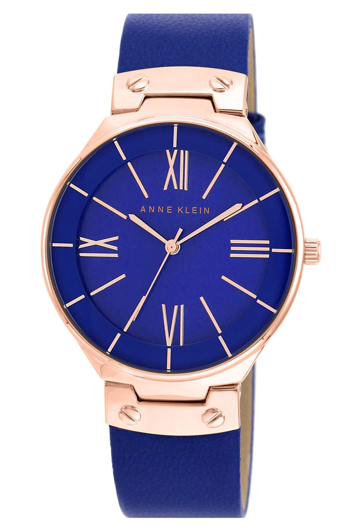Main Image - Anne Klein Round Leather Strap Watch, 38mm
