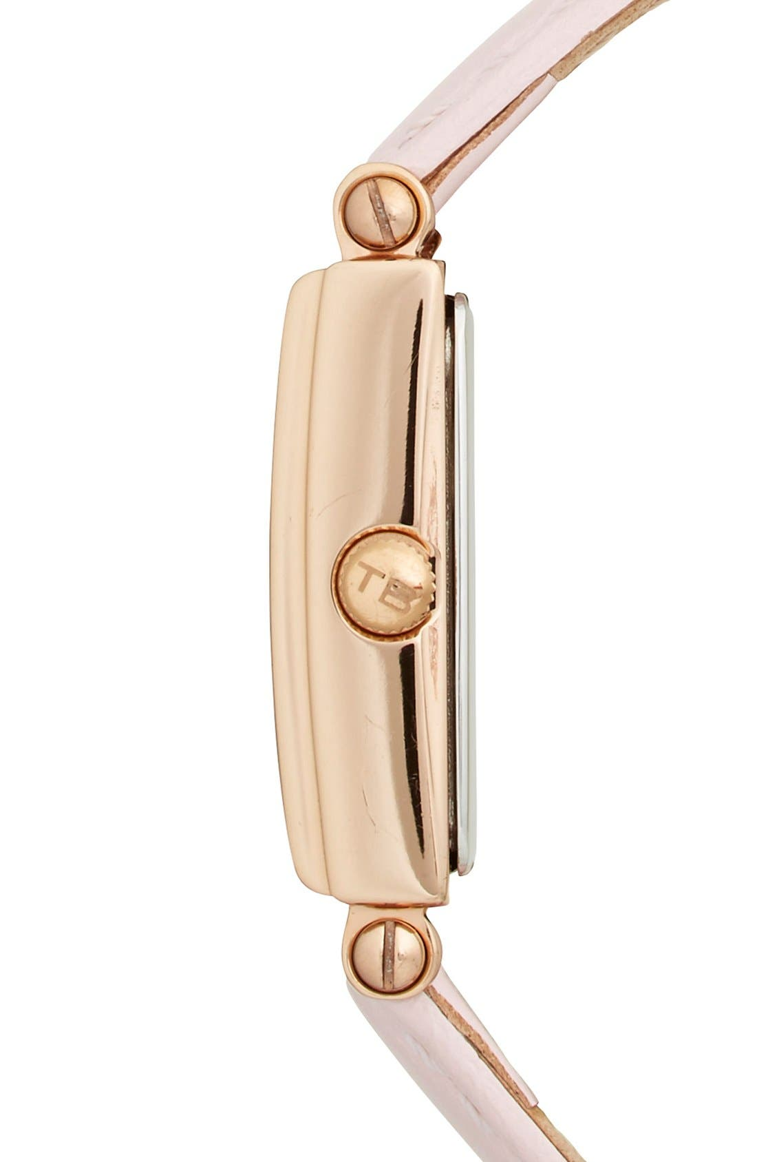 Alternate Image 3  - Ted Baker London 'Bliss' Rectangle Case Leather Strap Watch, 20mm x 27mm