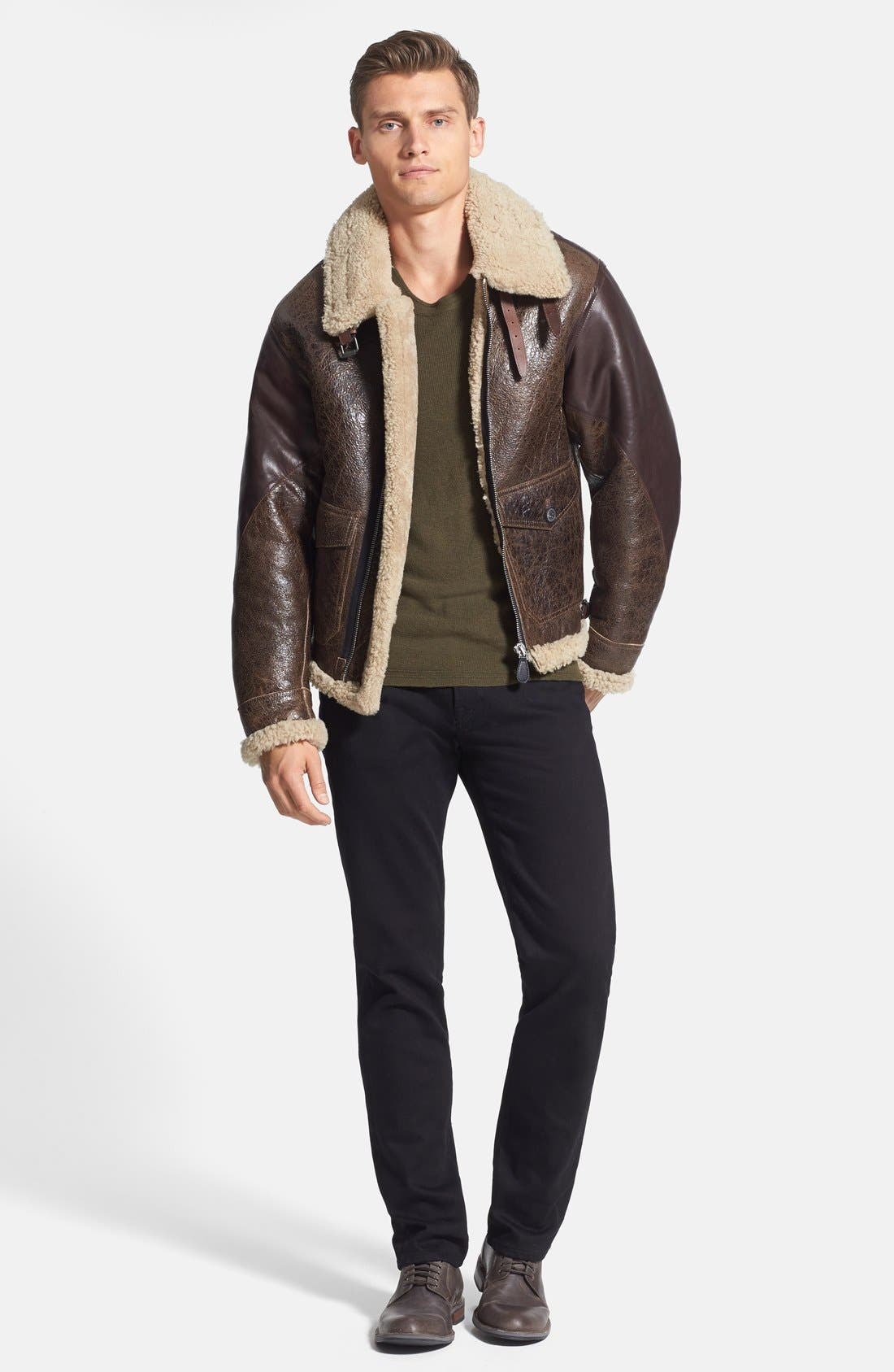 Alternate Image 4  - Burberry Brit 'Ormsby' Distressed Leather Jacket with Lamb Shearling Trim