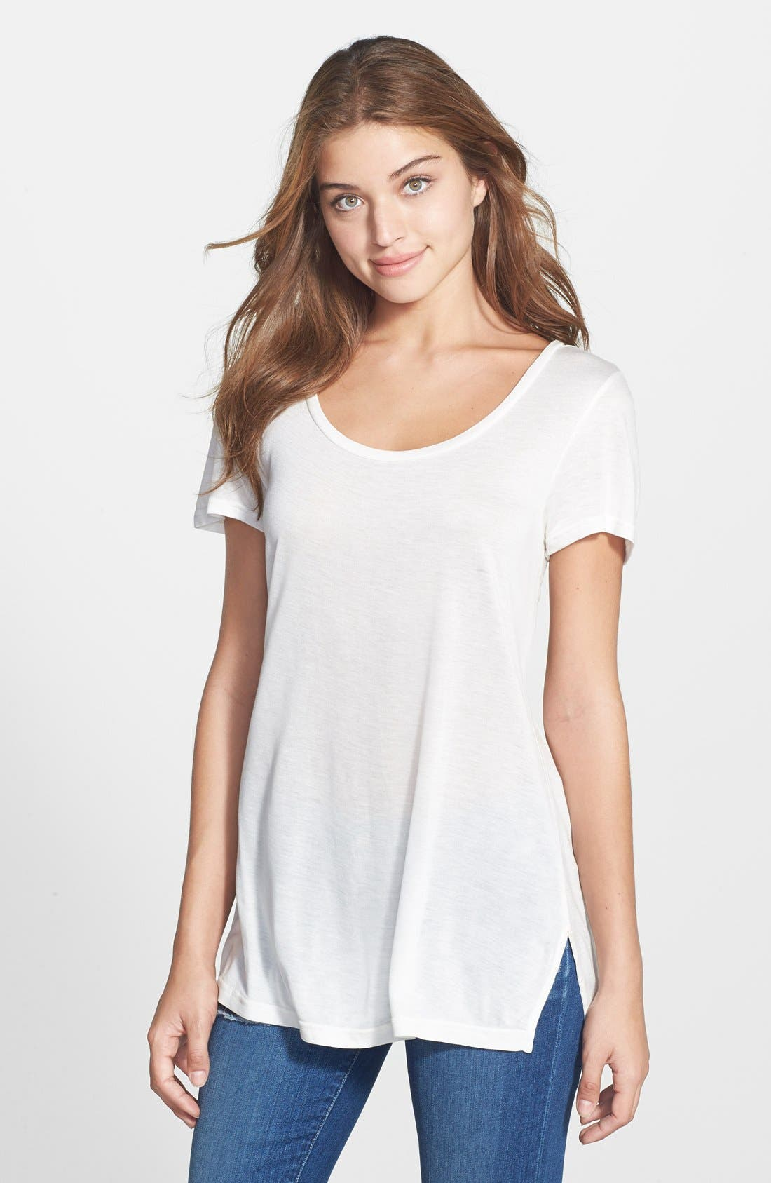 Main Image - Halogen® Side Slit Long Scoop Neck Tee (Regular & Petite)