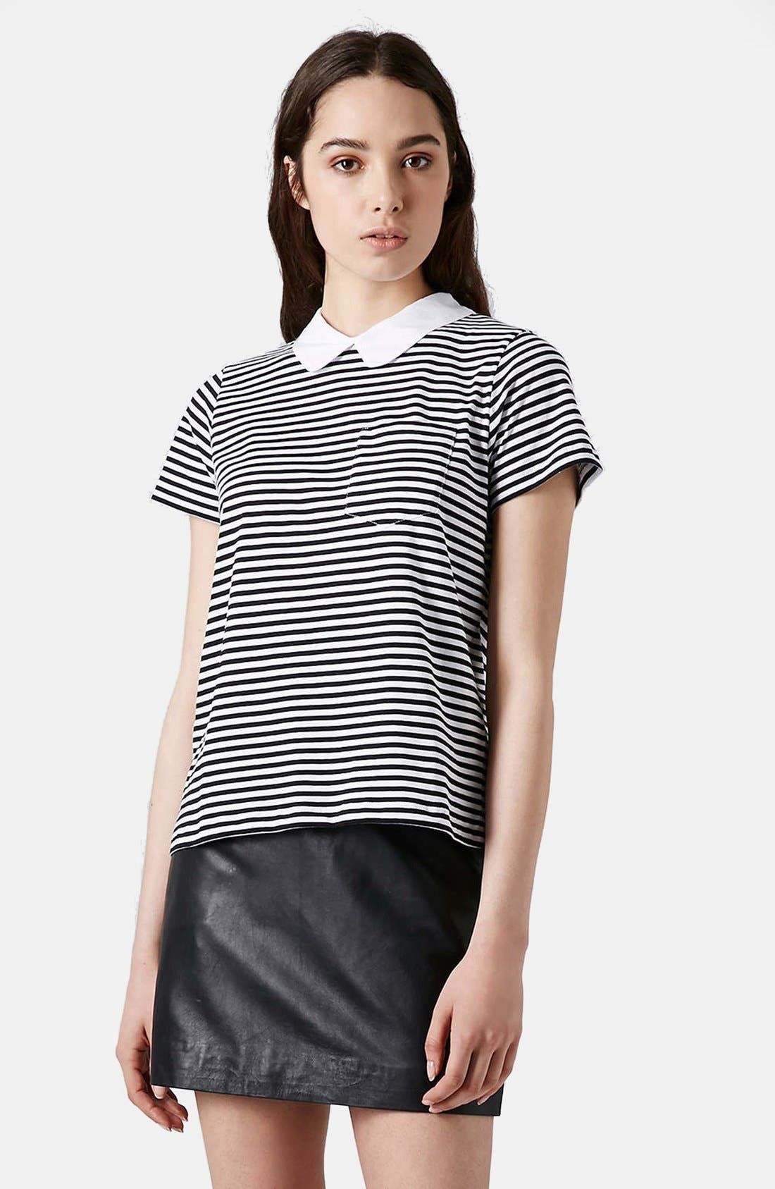 Alternate Image 1 Selected - Topshop Stripe Print Collared Tee