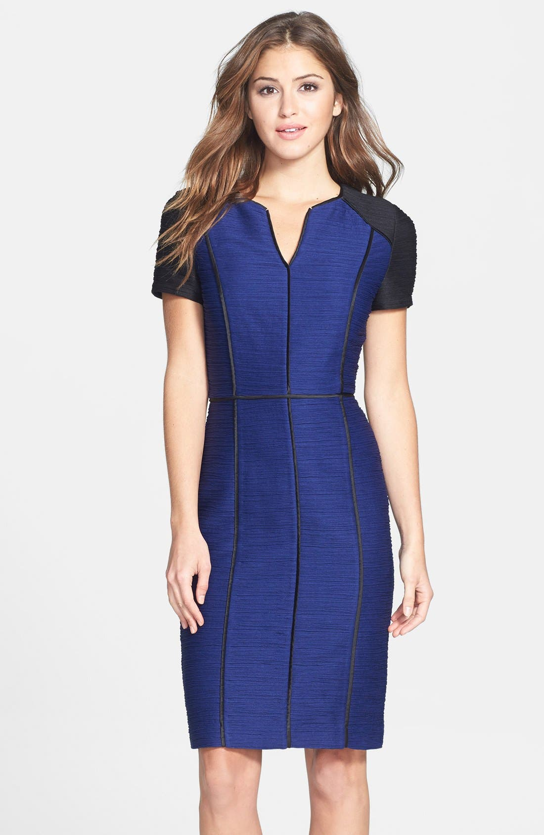 Alternate Image 1 Selected - Nue by Shani Colorblock Ribbed Sheath Dress