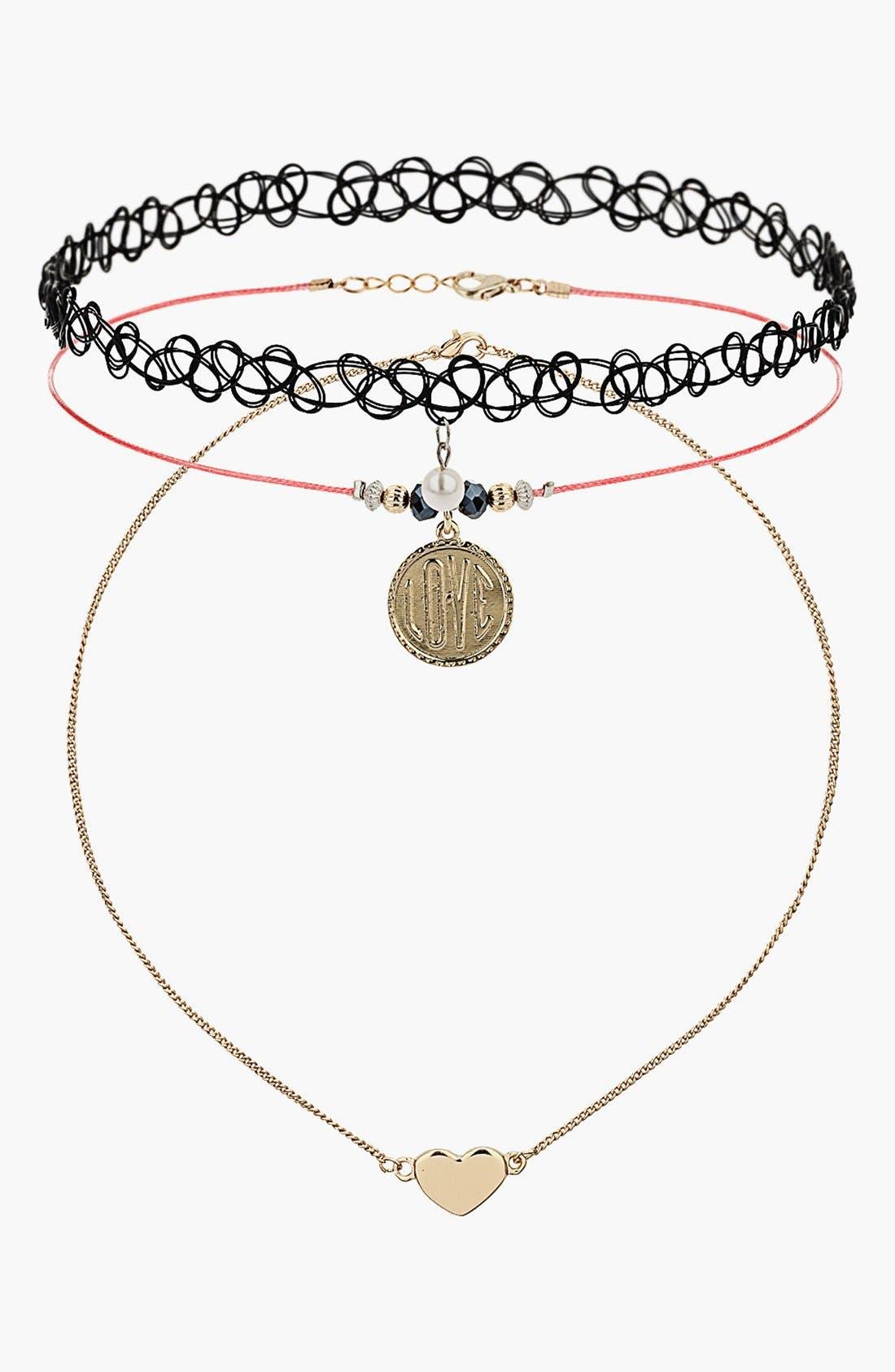 Alternate Image 1 Selected - Topshop Love Charm Choker & Necklace Set