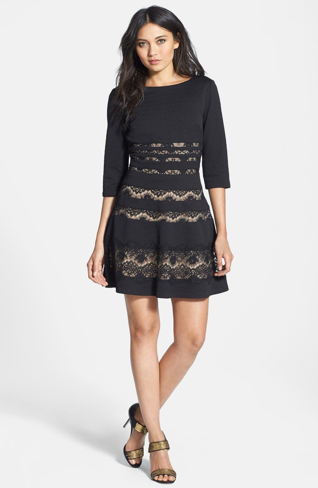 Main Image - ERIN erin fetherston 'Millie' Lace Inset Ponte Fit & Flare Dress