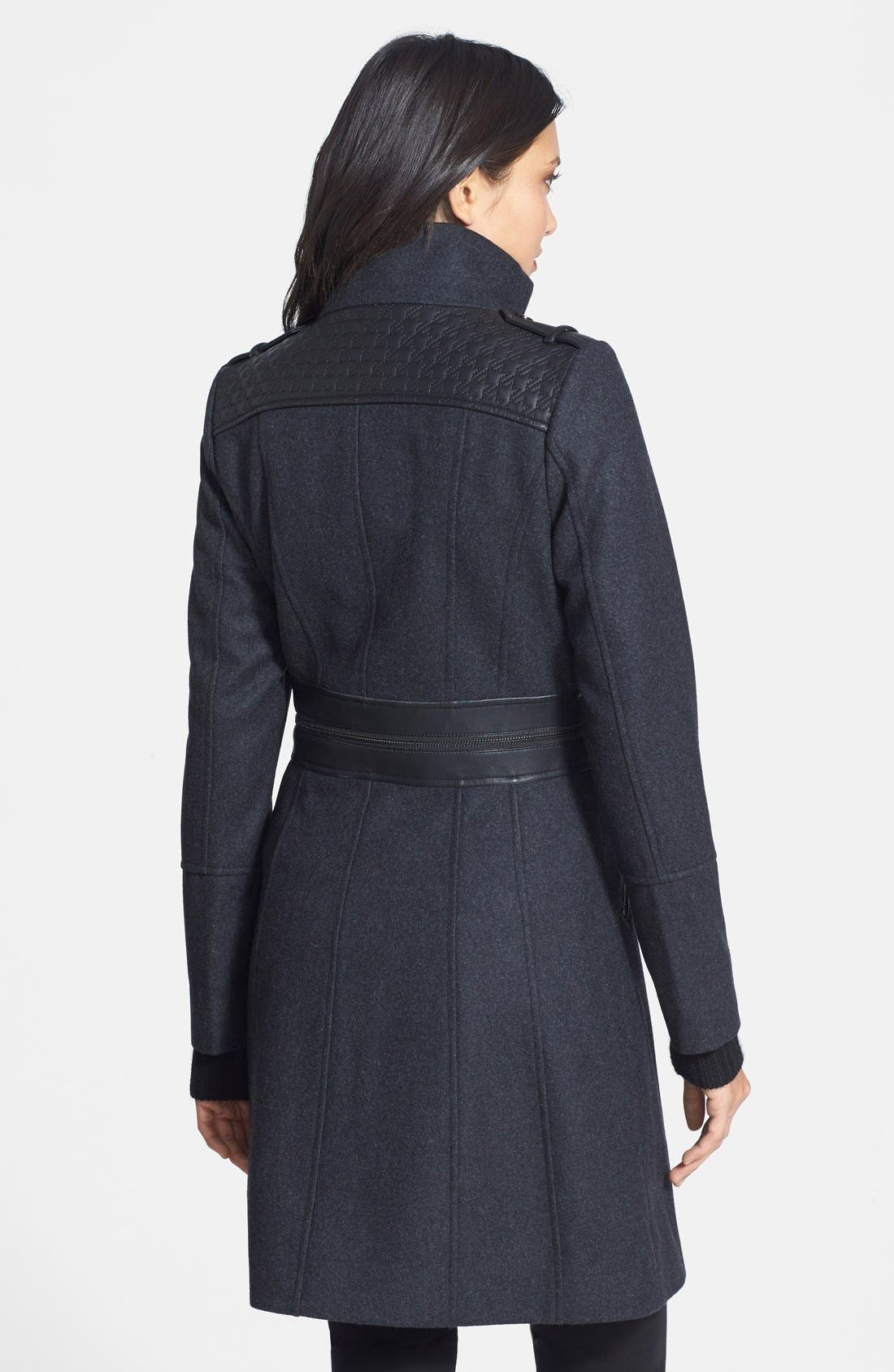 Alternate Image 2  - GUESS Faux Leather Trim Stand Collar Wool Blend Coat