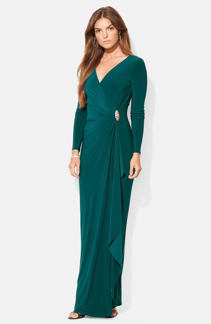 Lauren Ralph Lauren Embellished Jersey Gown | Nordstrom