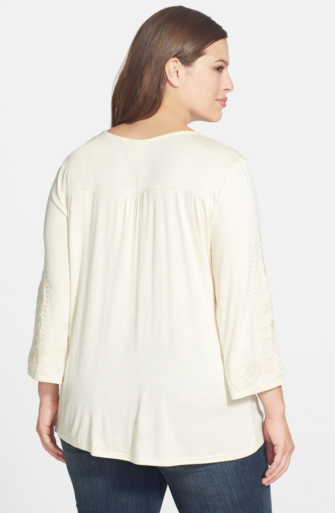 Alternate Image 2  - Forgotten Grace Embroidered Knit Top (Plus Size)