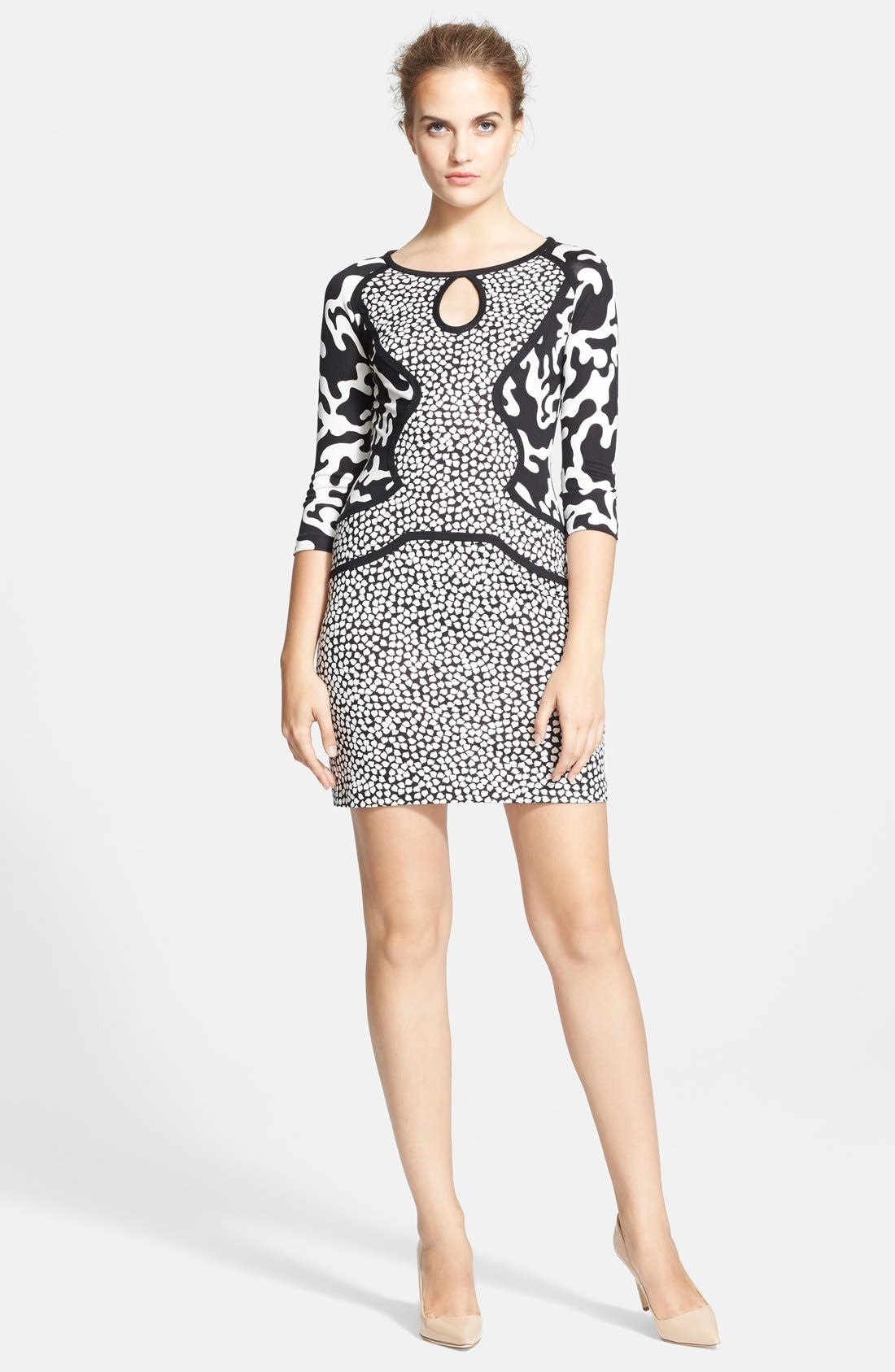 Main Image - Diane von Furstenberg Three Quarter Sleeve Shift Dress
