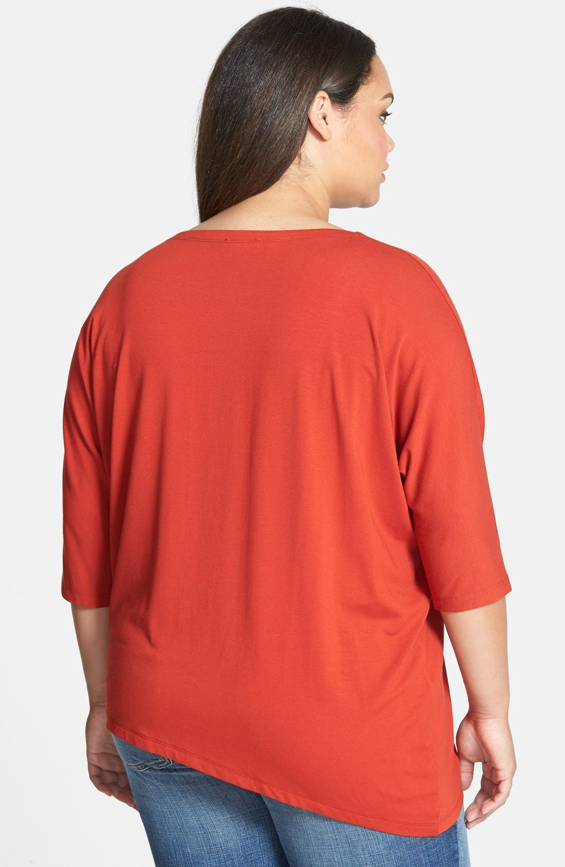 Alternate Image 2  - Eileen Fisher V-Neck Asymmetric Jersey Top (Plus Size)