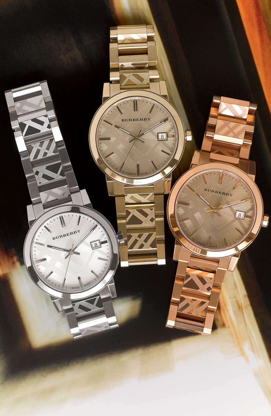 Alternate Image 7  - Burberry Check Stamped Bracelet Watch, 38mm