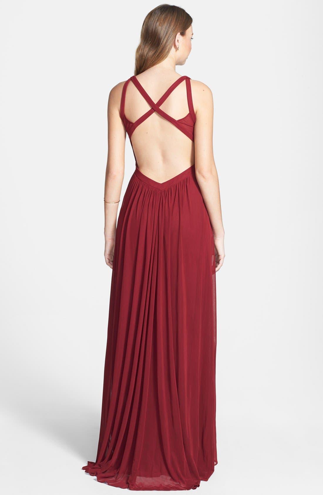 Alternate Image 2  - La Femme Cutout Mesh Gown