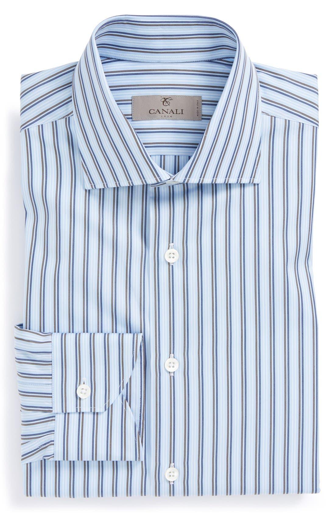 Main Image - Canali Regular Fit Stripe Dress Shirt