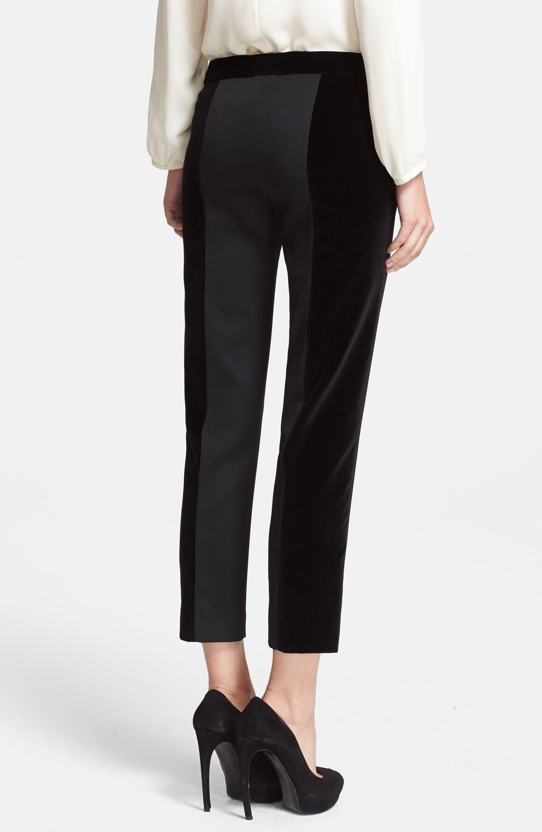 Alternate Image 2  - Alexander McQueen Velvet & Grain de Poudre Crop Pants