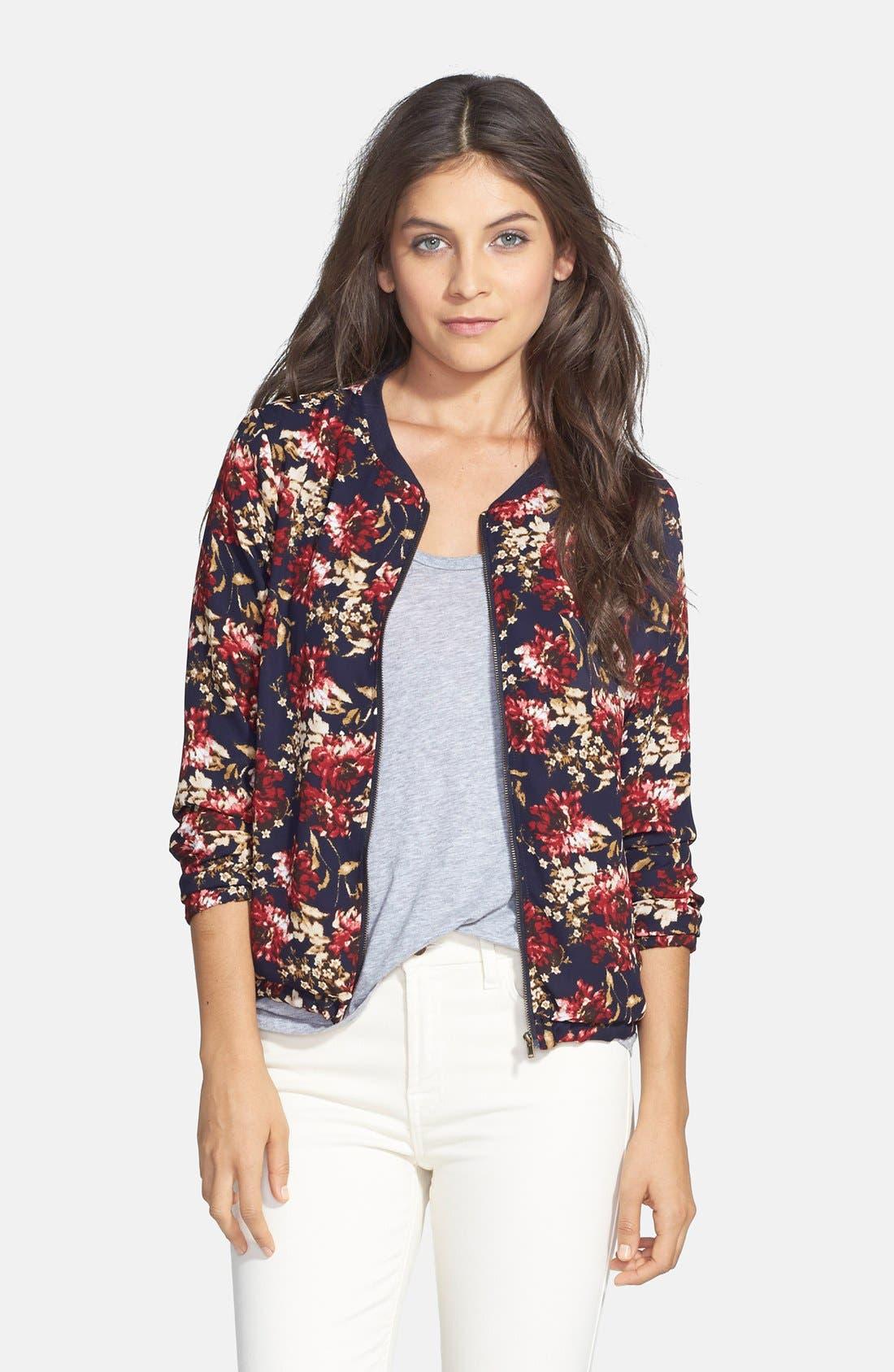 Alternate Image 1 Selected - Olive & Oak Floral Print Bomber Jacket