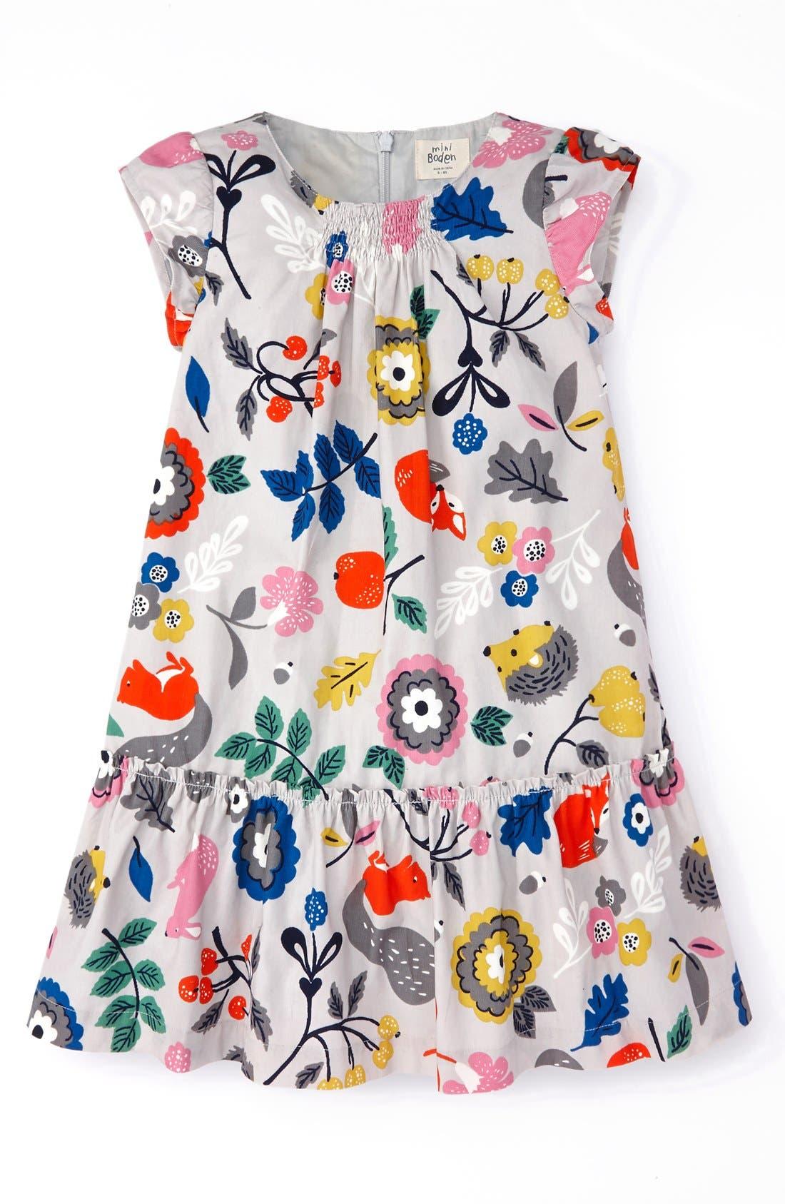 Main Image - Mini Boden Pretty Printed Dress (Toddler Girls, Little Girls & Big Girls)