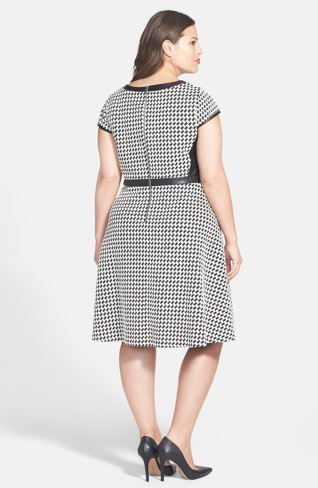 Alternate Image 2  - Julia Jordan Houndstooth Dress & Sam Edelman Pump (Plus Size)