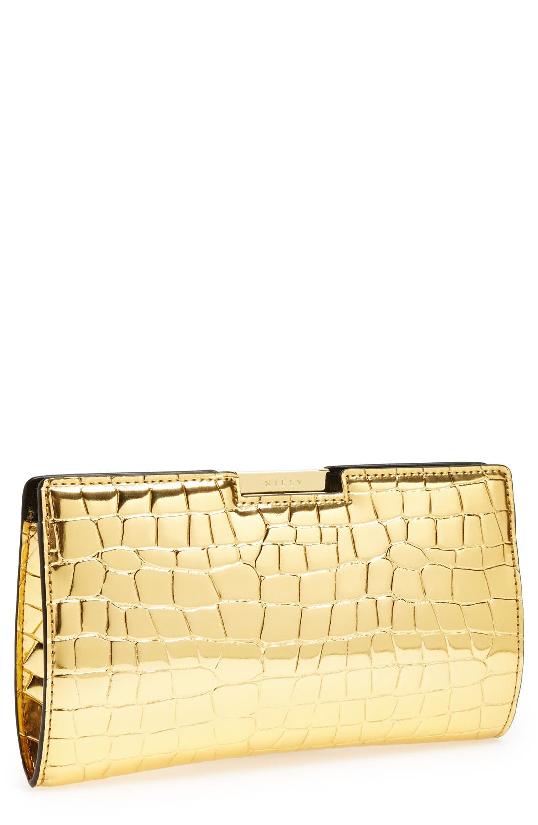 Main Image - Milly Croc Embossed Frame Clutch