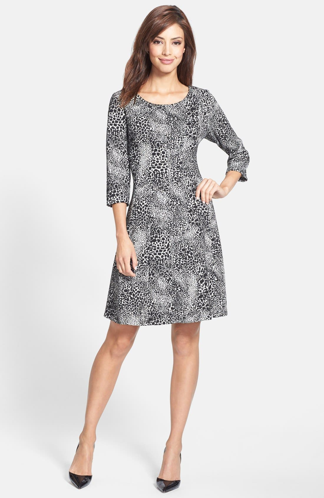 Alternate Image 3  - Taylor Dresses Jacquard Knit Fit & Flare Dress (Regular & Petite)