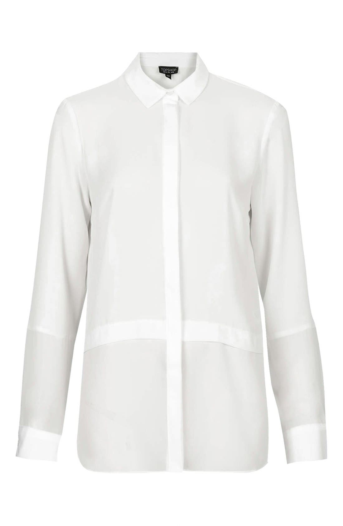 Alternate Image 3  - Topshop Sheer Panel Shirt