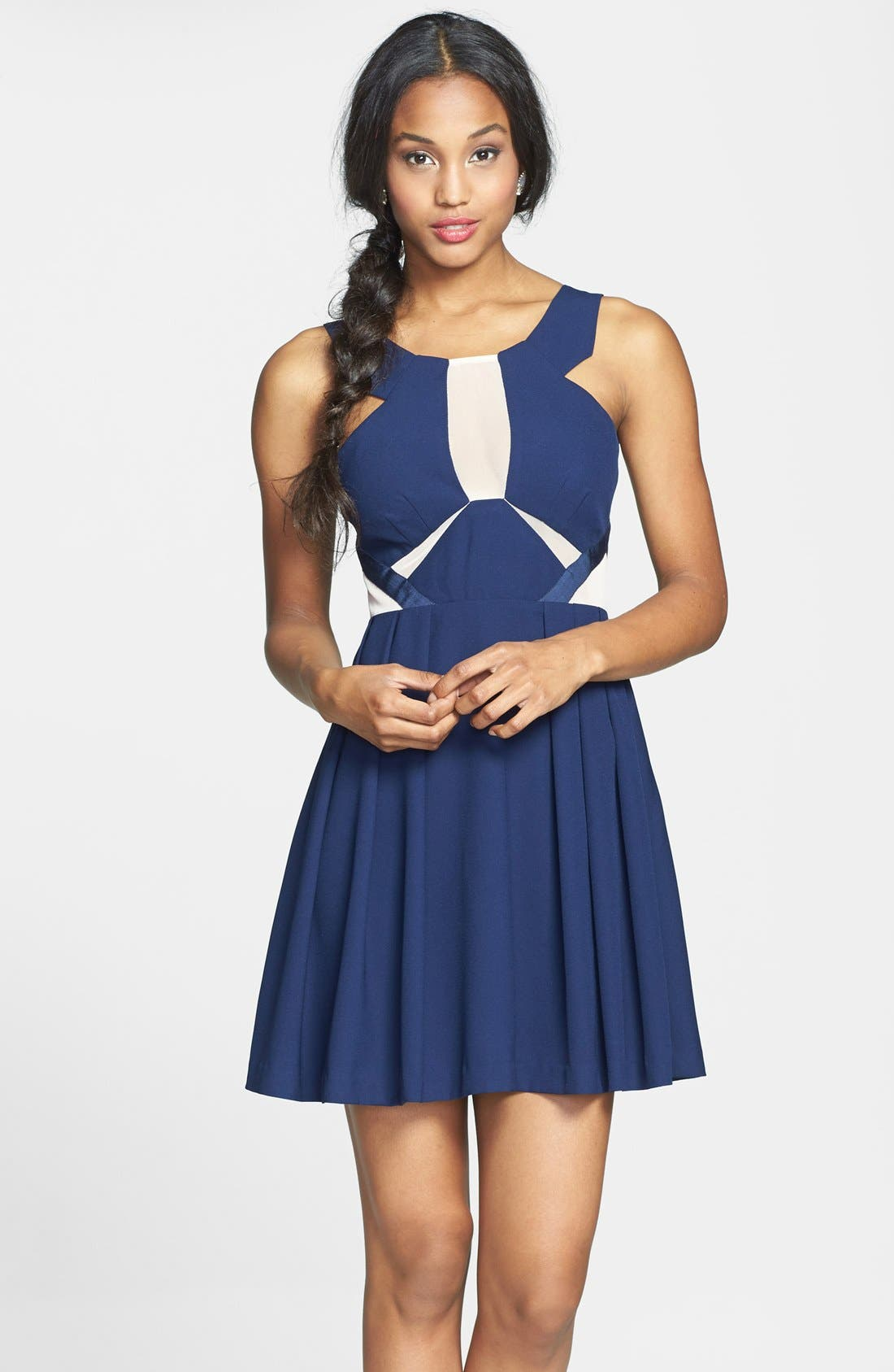 Main Image - a. drea Mesh Inset Fit & Flare Dress (Juniors)