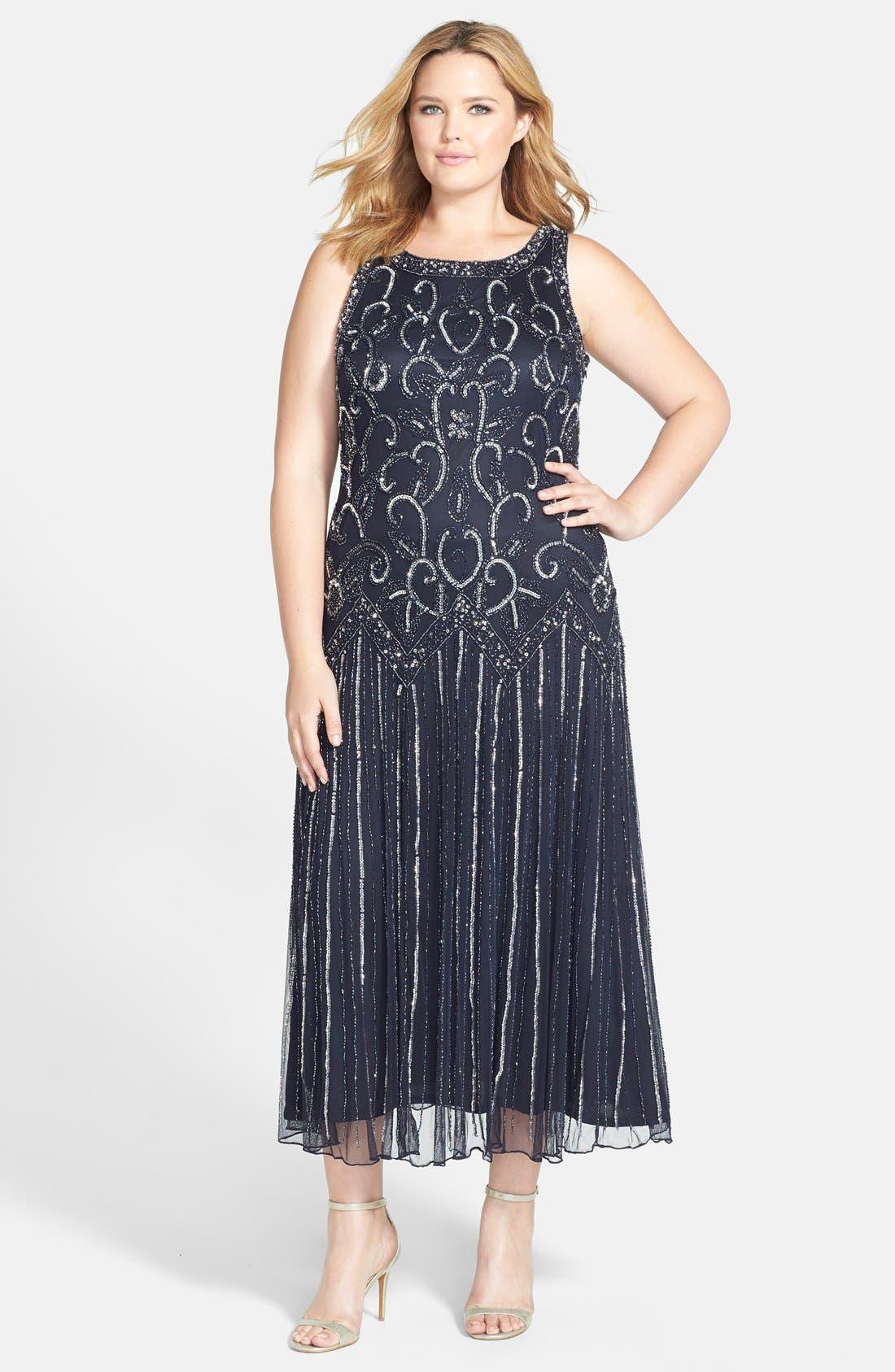 Main Image - Pisarro Nights Embellished Mesh Dress (Plus Size)