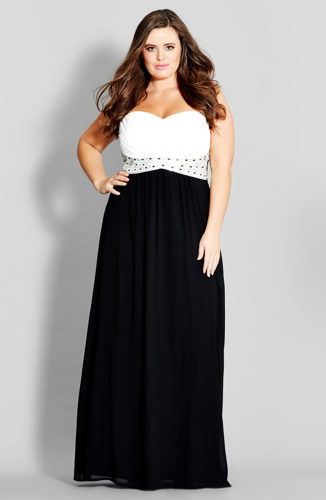 City Chic 'Contrast Camilla' Embellished Strapless Maxi Dress (Plus Size)