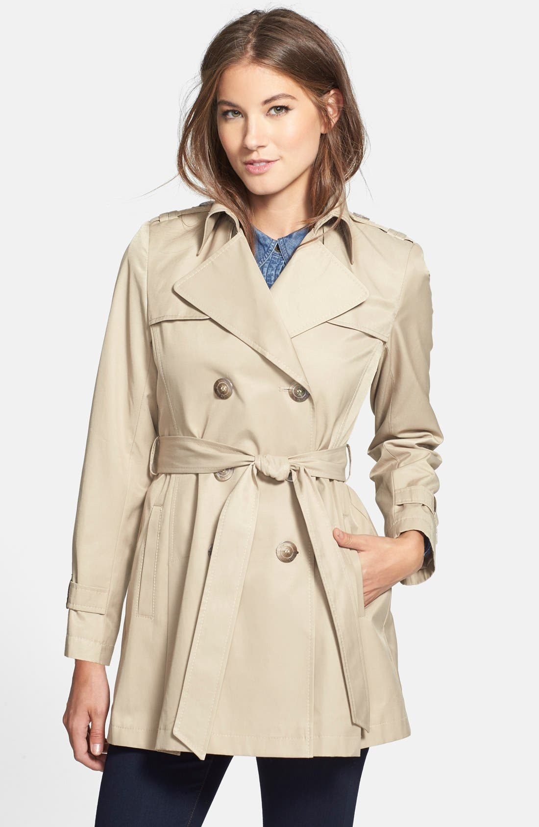 Alternate Image 1 Selected - DKNY Double Breasted Trench Coat (Regular & Petite) (Online Only)