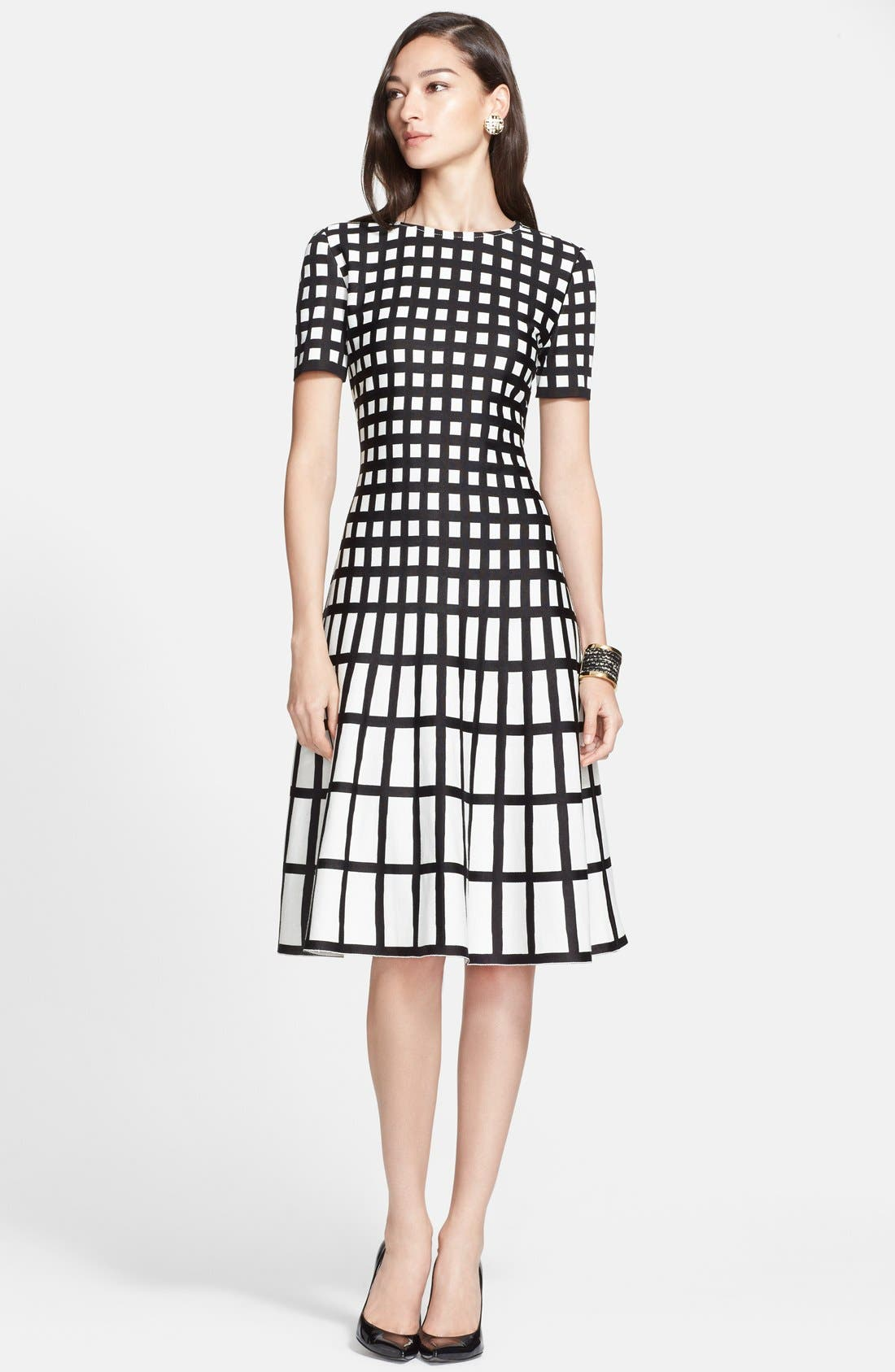Alternate Image 1 Selected - St. John Collection Tubular Box Knit Flared Dress
