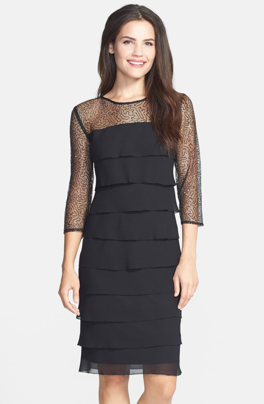 Main Image - Alex Evenings Sequin Mesh Yoke Tiered Shift Dress