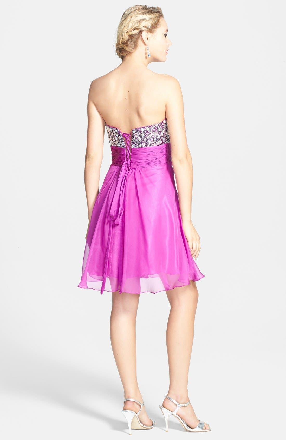 Alternate Image 2  - Faviana Embellished Strapless Chiffon Fit & Flare Dress