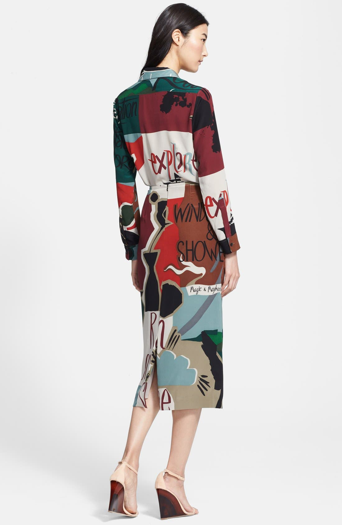Alternate Image 2  - Burberry Prorsum Poet Print Mulberry Silk Blouse