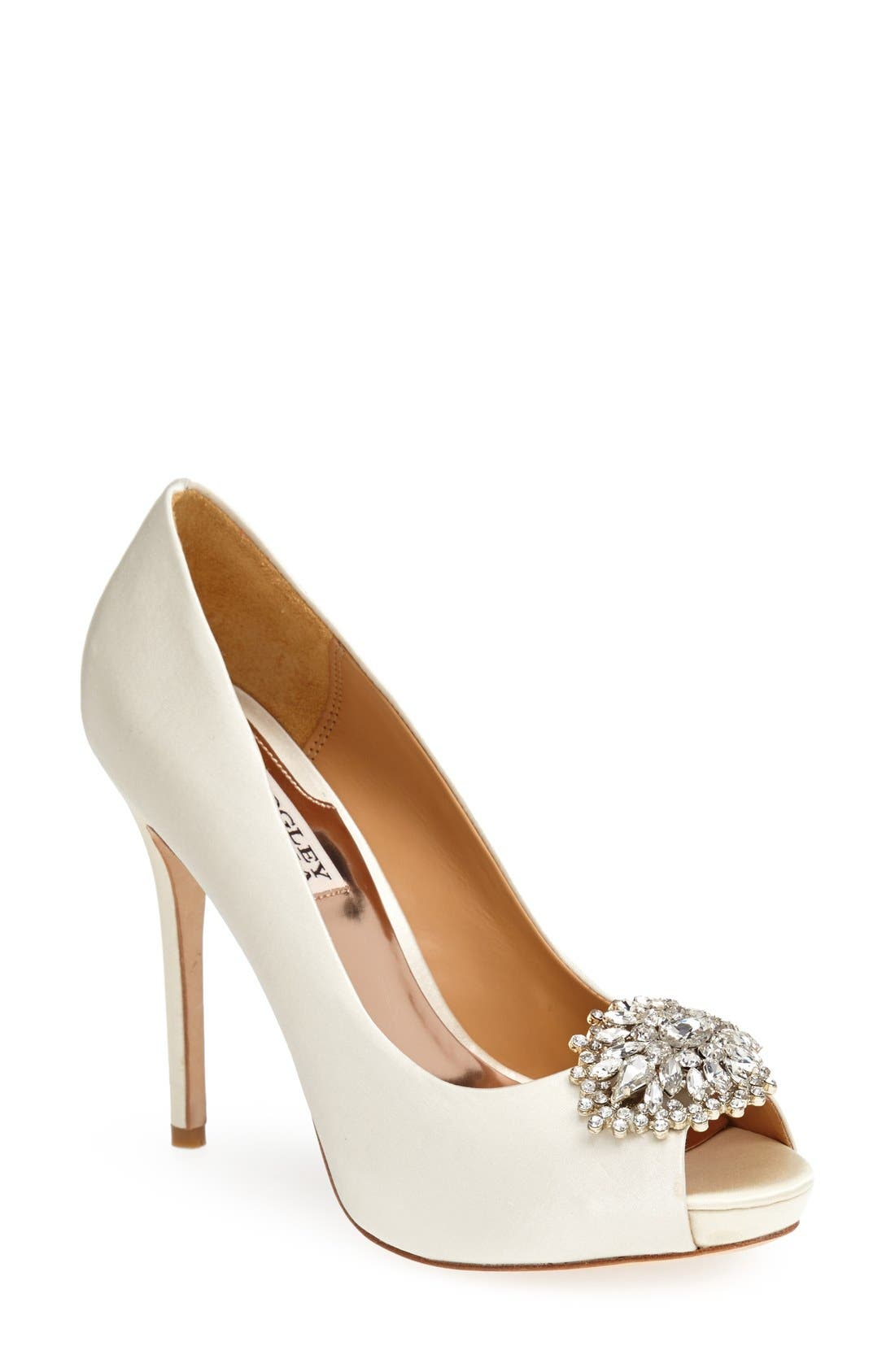 Alternate Image 1 Selected - Badgley Mischka 'Jeannie' Crystal Trim Open Toe Pump (Women)