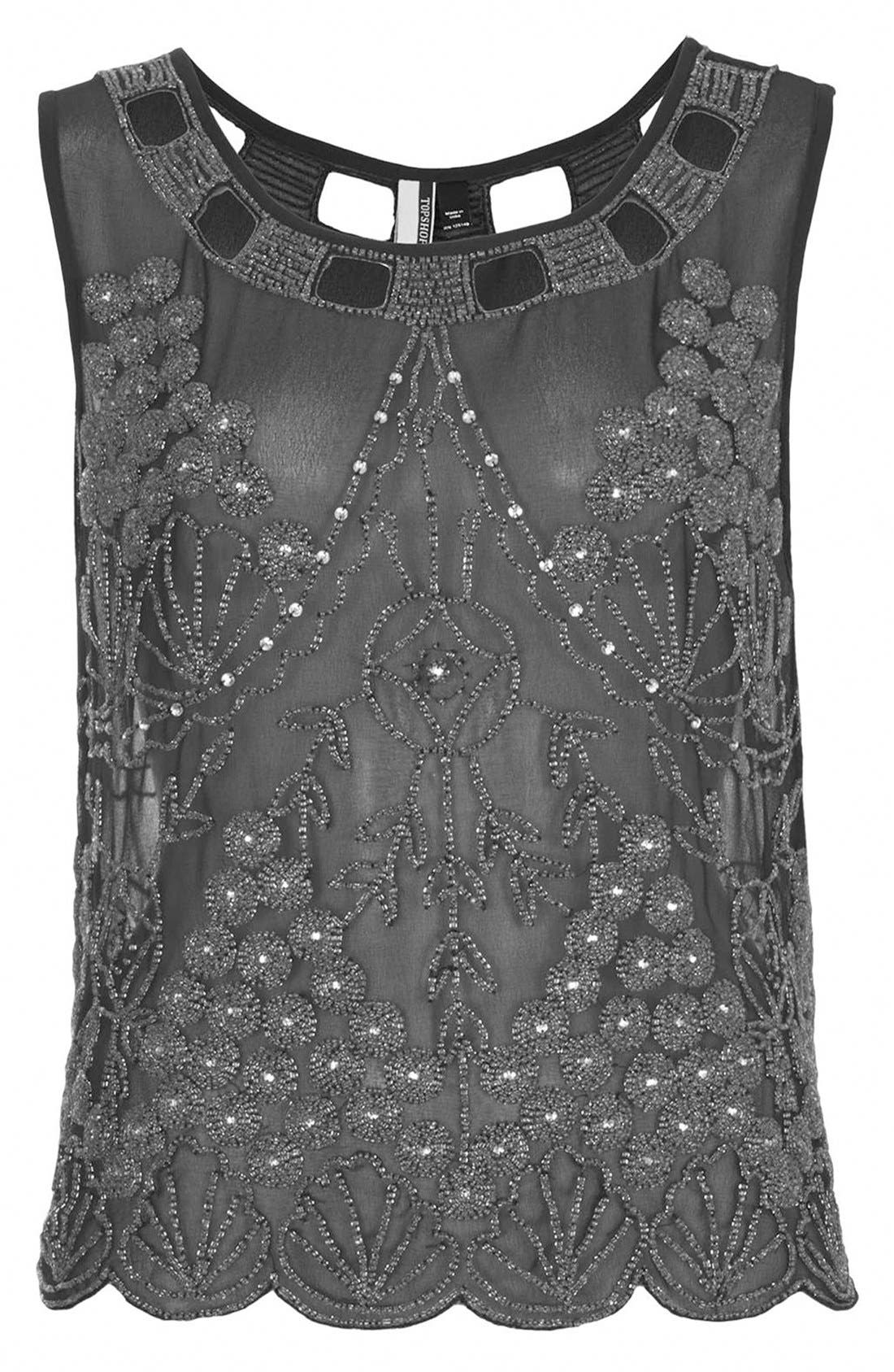 Alternate Image 3  - Topshop Embellished Sheer Sleeveless Top
