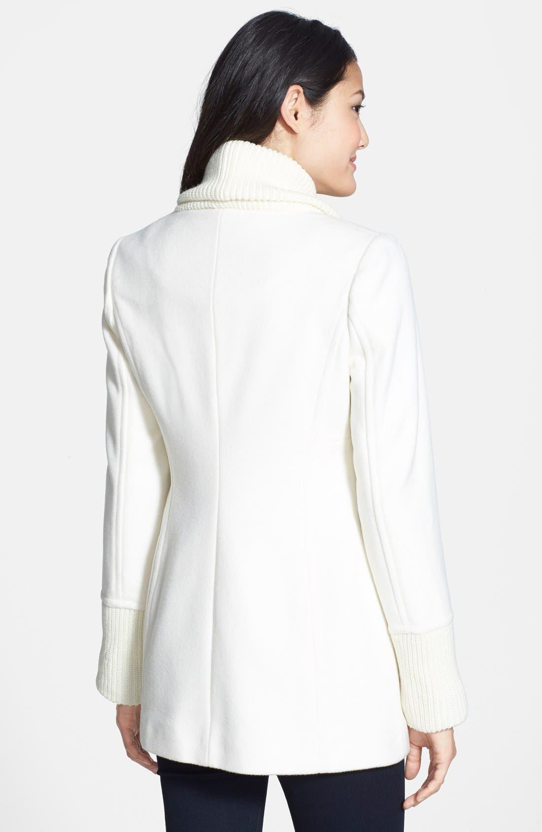 Alternate Image 2  - Vince Camuto Knit Trim Wool Blend Coat (Online Only) (Regular & Petite)