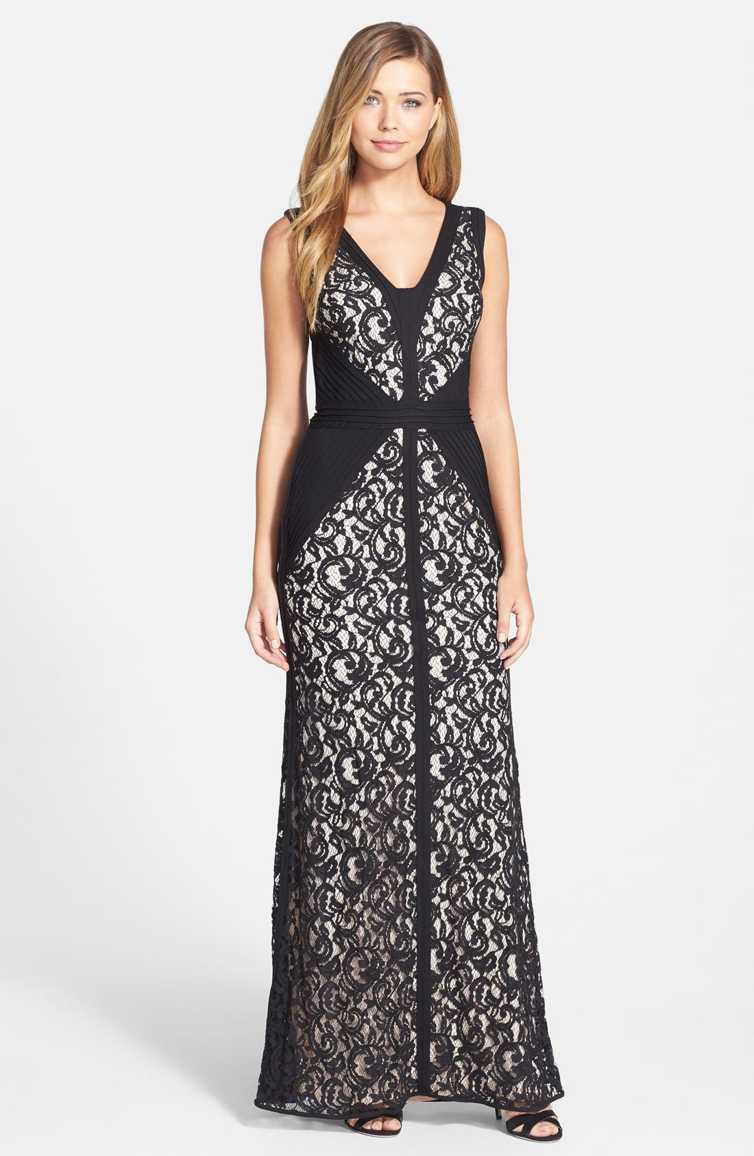 Alternate Image 1 Selected - Tadashi Shoji Lace & Jersey Gown